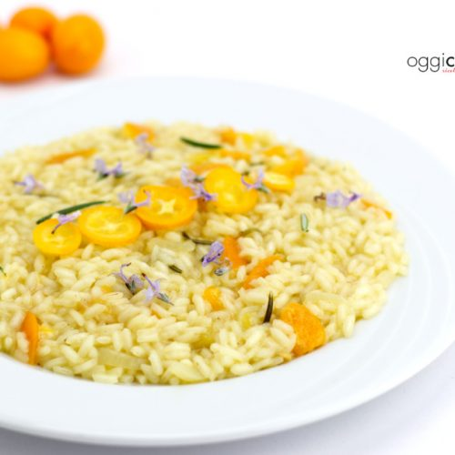 risotto con kumquat, rosmarino e zafferano fatto con il Magic Cooker